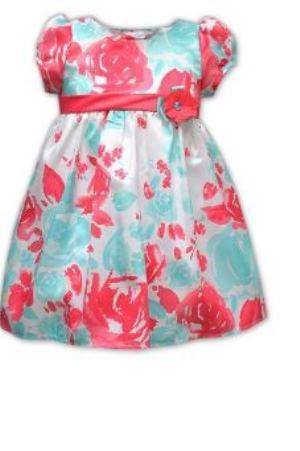 RARE EDITIONS LITTLE GIRL FLORAL SHANTUNG BUBBLE DRESS