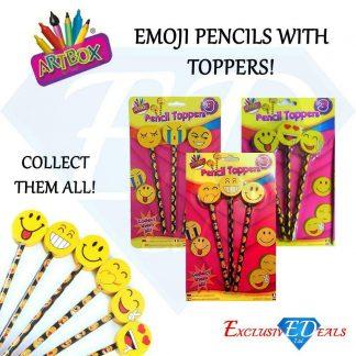 Emoji Face Pencils & Eraser Toppers